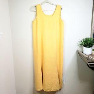 FLAX  Linen Lagenlook Yellow Maxi Dress Medium